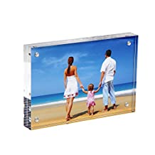 """NIUBEE Clear Mirrored Modern Magnetic Acrylic Picture Frame 4x6"""" with Gift Box Package, Double Sided Ornate Frameless Desktop Card Display"""
