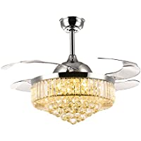 Siljoy Retractable Ceiling Fans with Lights and Remote Invisible Crystal Chandelier Lighting Dimmable LED 3 Color Changing Chrome Finish 42