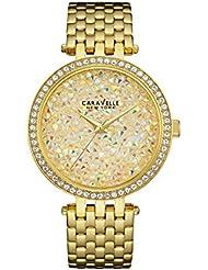 Caravelle New York Womens 44L184  Swarovski Crystal  Gold Tone Watch