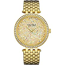 Caravelle New York Women's 44L184  Swarovski Crystal  Gold Tone Watch