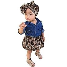 Baby Girl Jean Shirt Leopard Print Short Skirt Headband Outfits Set Clothes