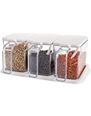 Cedilis 3 Pieces Clear Seasoning Box, 13.5oz Salt Sugar Storage Container, Plastic Condiment Container, Seasoning Spice Pots with Cover and Spoon
