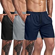 COOFANDY Men's 3 Pack Gym Workout Shorts Mesh Weightlifting Squatting Pants Training Bodybuilding Jogger w