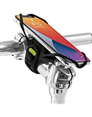 """Bone Bike Tie Pro 4 Bike Phone Mount Bicycle Phone Holder, Ultra-Light Shock-Proof Mount for Stem, Bike Accessories for iPhone 12 11 Pro Max XS Samsung Galaxy S20 S10 S9 A71 A51, Fits 4.7"""" - 7.2"""" Phones (Black)"""