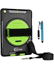 Cellular360 Shockproof Case for iPad 9.7 2018 2017, iPad 5th Gen, iPad 6th Gen with 360 Degrees Swivel Stand, Handle and Shoulder Strap (Black/Green)