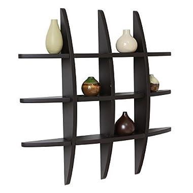 Black Finish Globe Cross Floating Display Wall Shelf 29.5 Inch x 4.25 Inch x 29.5 Inch