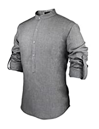 Hasuit Mens Casual Slim Fit Linen Henley Lightweight Roll-up Sleeve Popover Shirt