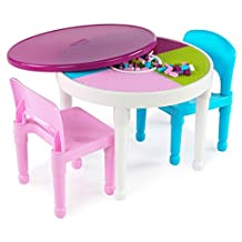 Tot Tutors Kids 2-in-1 Plastic LEGO-Compatible Activity Table and 2 Chairs Set, Bright Colors