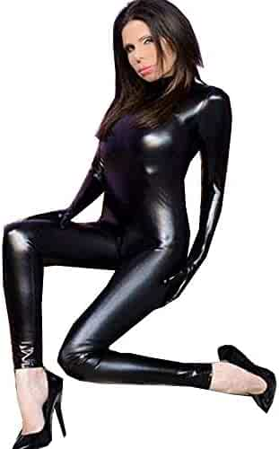 7d951433c FASHION QUEEN Women s Pu Faux Leather Catsuit with Gloves Teddy Night  Clubwear S-5XL Plus