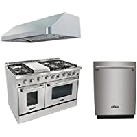 Thor Kitchen 48 6 Burner Dual Fuel Range with Double Oven+48'' Gange Hood+24 Built-in Dishwasher with Free Gift