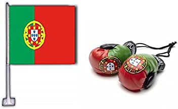 Portugal Car Flag & Mini Boxing Gloves Combo Pack