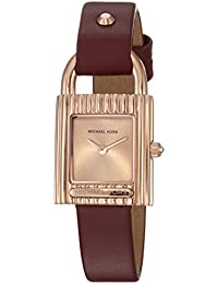 Women's 'Isadore' Quartz Stainless Steel and Leather Casual Watch, Color:Red (Model: MK2694)