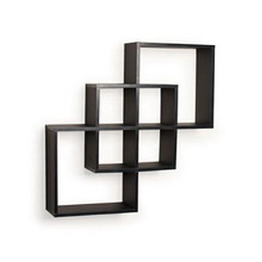 Danya B. FF6013B Decorative Contemporary Floating Intersecting Square Cube Wall Shelves - Black