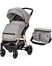 HEAO Baby Stroller 2 in 1 Compact Travel Stroller with mom Bag, Pushchair with Foot Cover, One Hand Fold, Extra Large Storage