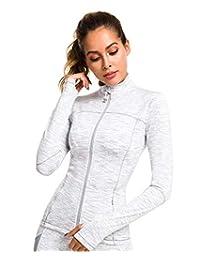 QUEENIEKE Womens Sports Jacket Turtleneck Slim Fit Full-Zip Running Top