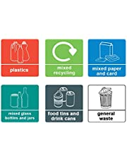 1 x Recycling Set van 6 - Info Sign Label Verwijderbare Zelfklevende Waterdichte Duurzame Vinyl Label Stickers 150mm x 150mm