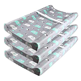 Stretch Fitted Changing Pad Cover, (3 Pack) Super Soft Baby Changing Table Pad Sheet with Strap Holes for Infants Boys Girls, Breathable Semi-Waterproof Diaper Change Pad Covers Set, Elephant