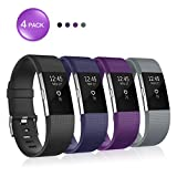 for Fitbit Charge 2 Bands, Soulen Silicone Adjustable Replacement Wristband for Fitbit Charge 2 4-Pack Smart Watch Heart Rate Fitness Wristband Small Large
