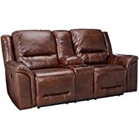 Ashley Furniture Signature Design - Jayron Reclining Loveseat with Console - Double - Powered - Harness Brown