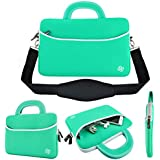 """KOZMICC 11.6-12"""" inch Laptop Neoprene Carrying Shoulder Strap Messenger Sleeve Case Bag Handle Pocket for Apple MacBook Air Pro, Chromebook, Dell, HP, Samsung [Up to 11"""" x 6"""" x 1.5"""" Inch] (Teal)"""
