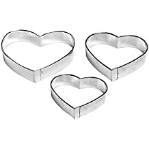 "4"" Cookie Cutter Heart Shape Set of 3 Pieces Aluminum Silver by Topenca Supplies"