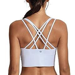 b6d035bcda5 CRZ YOGA Women s Medium Support Strappy Back Wirefree Removable Cups  Longline Yoga Sports Bra