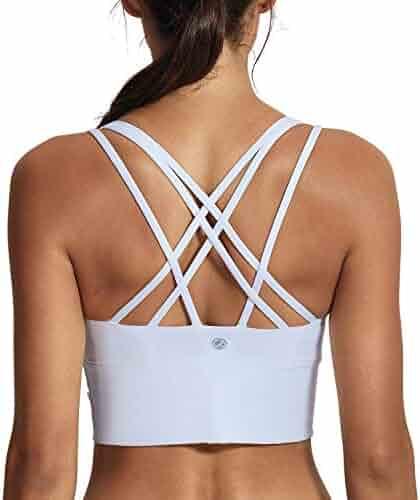8da9a45ecdc64 CRZ YOGA Women s Medium Support Strappy Back Wirefree Removable Cups  Longline Yoga Sports Bra