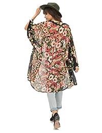 Coromose Women Flower Floral Print Chiffon Kimono Cardigan Jacket Outwear Blouse