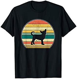 Chihuahua Dog  Retro Vintage 70S Silhouette Gift T-shirt | Size S - 5XL