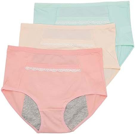 CPOP Period Sanitary Underwear for Girls Women, Cotton Leakproof Menstrual Maternity Briefs Panties 3pack