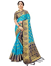 Elina fashion Sarees for Women Banarasi Art Silk Saree l Indian Ethnic Wedding Diwali Gift Sari with Unstitched Blouse