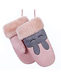W-RHYME Girls Mittens with Strings Warm Thick Faux Suede Gloves (Color 16)