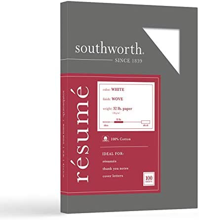 "Southworth 100% Cotton Resume Paper, 8.5"" x 11"", 32 lb/120 GSM, White, 100 Sheets - Packaging May Vary (RD18CF)"