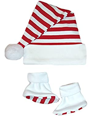 Jacqui's Unisex Baby Santa Hat & Booties with Red & White Stripes