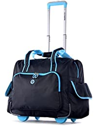 Deluxe Fashion Rolling Overnighter, Black/Blue, One Size