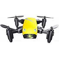 QWinOut S9W Mini Drone with Camera RC Helicopter Foldable Drones Altitude Hold Quadcopter WiFi FPV Pocket Toys (Yellow)