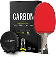 PRO SPIN Ping Pong Paddle with Carbon Fiber | 7-Ply Blade, Offensive Rubber, 2.0mm Sponge, Premium Rubber Prot