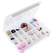 OneDor Clear Transparent Bead Accessory Storage Organizer with 24 Plastic Divider