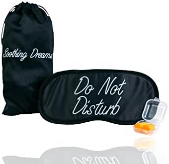 Luxury Sleeping Mask by SoothingDreams - Comfortable And Adjustable With Ear Plugs And Exclusive Silk DrawString Pouch For Travel, Shift Workers and Meditation