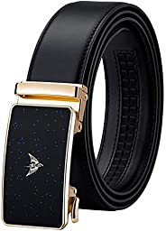 Fengxiang WILLIAMPOLO Belts Ratchet Belt for Men Genuine Leather Automatic Sliding Buckle