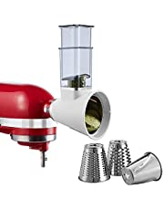 Slicer/Shredder Attachment for KitchenAid Stand Mixers and Cuisinart Stand Mixers SM-50 Series,Cheese Grater Attachment Vegetable Slicer Attachment Salad Maker(White)