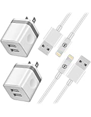 NNICE Phone Charger 10Ft Cable with Plug, UL Certified Dual USB Wall Charger Adapter and 10 Foot Long Fast Charging Sync Cord Compatible with Phone XS/XS Max/XR/X/ 8/7/ 6/ 6S Plus, 5S/ SE(4 in I)