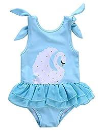 f1b33e4454 SUPEYA Baby Girls Swan Print Swimsuit Ruffle Swimwear Sleeveless One-Piece  Beachwear