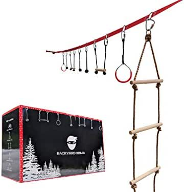 Backyard Ninja Backyard 45 Foot Ninja Obstacle Course | Inspired by American Ninja Warrior Training Equipment | Slackline Swinging Monkey Bars Includes 9 Hanging Obstacles for Kids with Ladder