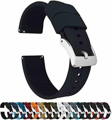 22mm Black - Barton Elite Silicone Watch Bands - Quick Release - Choose Strap Color & Width