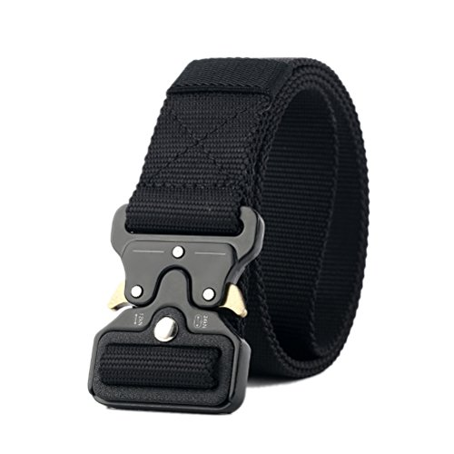JELINDA Men's Tactical Belt Nylon Military Style Webbing Belt with Metal Buckle