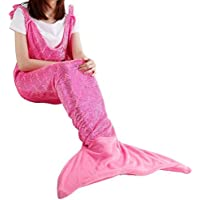 LANGRIA Soft Flannel Full-Body Mermaid Tail Blanket with...