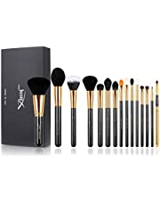 Jessup 15 Pcs Black/Gold Pro Makeup Brushes Makeup Brush Set Beauty Cosmetics Powder Foundation Eyeshadow Eyeliner Blending Lip Eye Make Up Brush Tools T093