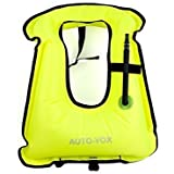 Auto-Vox Adult Inflatable Snorkel Vest Snorkeling Adult Jacket Free Diving Swimming Safety Load Up To 170 Ibs