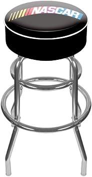 Trademark Global NASCARR Padded Swivel Bar Stool, 31-Inch Tall, Black
